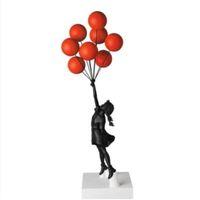 Lüks Balon Kız Heykelleri Banksy Uçan Balonlar Kız Sanat Heykel Reçine Zanaat Ev Dekorasyon Noel Hediyesi 57 cm Hızlı