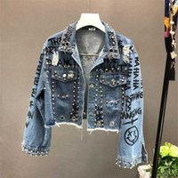 2020 New Fashion Beading Diamond Graffiti Printed Short Design Denim Jacket Coat Casual Women Cowboy Jeans Coats Outerwear R773