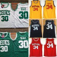 Herren Len Bias 34 Northwestern Wildcats High School Basketball Jersey Billig 1985 Maryland Terpen Len BIAS College genäht Basketballhemden