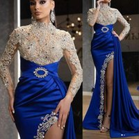 2021 Luxo Sexy Royal Blue Prom Vestidos de Alto Neck Sleeves Longos Cristal Beading Side Split Plus Tamanho Formal Vestidos de Partido Noite Desgaste