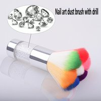Nail Brushes Petal Shaped Metal Handle Rainbow Brush With Diamond Paint Gel Dust Cleaning Make Up Art Manicure Tool