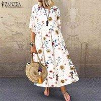 Vintage Printed Maxi Dress Womens Summer Sundress ZANZEA 2021 Casual Tunic Vestidos Female Half Sleeve Floral Robe Plus Size