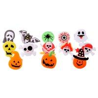 Novelty Lighting Halloween Cartoon Ring Ghost Pumpkin Bat Design LED Light Glowing Ring Flash Soft Gel Finger Light Kids Flashing Toys Gift