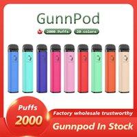 Gunnpod monouso e sigaretta vape penna dispositivo 1250mAh 8,0 ml cartuccia cartuccia 20 colori avibile 2000 sbuffi portatili PK BANG XXL Geek Bar Air Lux Puff Plus Elf Disponibile