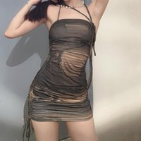 Casual Dresses Women Print Mini Dress Sexy Summer Sleeveless Halter Bodycon Drawstring Lace Up K- Pleated Hip Gothic Y2K