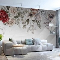 Wallpapers Custom Size European Oil Painting Floral 3D Wall Paper Pink White Rose Home Decor Mural Bedroom Self-adhesive Wallpaper
