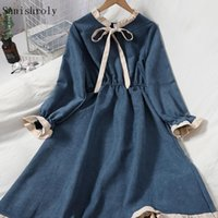 Casual Dresses 2021 Korean Sweet Tie Bow A Line Dress Women Elastic High Waist Long Female Flare Sleeve Spring Autumn