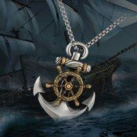 Collane pendente Ducieux Mens Acciaio Inox Collana Vintage Collana Vintage Navy Pirate Ancoraggio Rotante Ship Ship Trudder Punk Gioielli Regalo