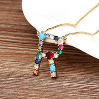 26pcs Lot Personal Name Letter Necklace Rainbow Copper CZ Initials Alphabet Women Girls Gorgeous Family Jewelry Gift