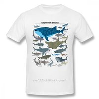 Organismos marinhos tubarões camiseta para homem estilo vintage manga curta algodão orgânico tamanho grande camiseta tee 210707