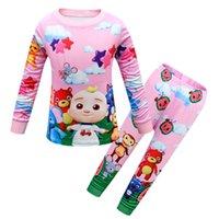 Duas peças Cocomelon JJ baby trajes crianças pijamas 2 pijama pijama conjunto crianças meninas sleepwear manga longa pulôver t camisa e calças leggings roupas de roupa g80fqrh