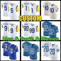 "9 Matthew Stafford Jersey 99 Aaron Donald 16 Jared Goff Los Jalen Ramsey Angeles Desean Jackson Kupp Football Rams ""Detroit"" leões ""Barry Sanders D'andre Swift"