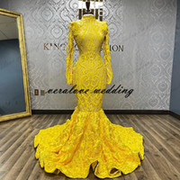Desinger Mermaid Prom Dresses with Long Sleeves Yellow Afric...