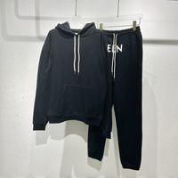Sonbahar Kış Hood Logo Baskı Rahat Eşofman Unisex Streetwear Kapşonlu Hoodie Pantolon Joggers Set Sweatshirt