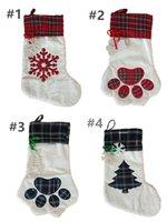 Santa Candy подарочная сумка Большой пушистый рождественские чулки домашней собаки плед лапы санта носки снежинки рождественские рождественские рождественские украшения