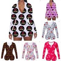 2021 mulheres macacões designers impressos manga longa macacão de manga shorts onesies dia dos namorados v neck bodysuit um pedaço de pijama hh12801