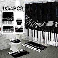 1 / 3 / 4pcs 피아노 키보드 욕실 세트 심장 패턴 방수 샤워 커튼 화장실 커버 매트 비 슬립 러그 홈 바닥 장식