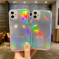 Laser Gradient Color Changing Bling Cases Glitter Purple Light Straight Side Soft TPU Cover Camera Protection For iPhone 13 12 11 Pro Max XR XS X 8 Plus