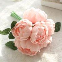 6 teste artificiali peonia rosa peonia seta fiore bouquet festival San Valentino giorno anniversario regalo matrimonio home tabella decorazione decorazione 241 S2