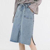 Skirts Top Quality 2021 Woman Jeans Skirt Womens Midi Summer Women Split Fork Clothing Women's Denim Mujer Faldas TN2792