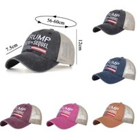 Donald Trump 2024 Baseball Cap Patchwork Washed Distressed Outdoor Sports Embroidered Trump 2024 The Sequel Mesh Hats CYZ3275 30Pcs