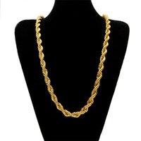 10 mm de espesor 76 cm de largo cadena torcida Cadena torcida 24k chapada en oro Hip Hop Collar pesado torcido para hombre 92 U2