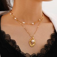 Pendant Necklaces Vintage Multilayer Pearl Necklace For Women Geometric Charm Choker Boho Fashion Jewelry Gift