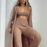 Women's Tracksuits Women Plush Clothes Set 2pcs Tanks Crop Top Long Trousers Sexy Simple Solid Color Home Clothing Homewear Casual Tracksuit
