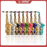 LOMMI Eb Alto Saxophone Double-Braced Handcrafted Carve Pattern Gold Lacquer SAX Set w Reeds Mouthpiece Cork Grease Brush