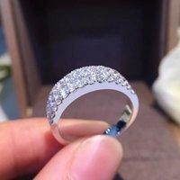 AEAW 1.2CTW قيراط F اللون مختبر نمت مويسانيتي جولة الماس الاشتباك الزفاف باند 925 الفضة للنساء CJ191205