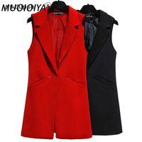 Women's Vests Vest For Women Sleeveless Jacket Coat Long Blazer Formal Work Ladies Office Vintage Slim Suit Waistcoat Female Plus Size
