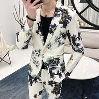 Men's Suits & Blazers (Jackets+Pants) 2021 Spring Printed Business Blazers Male Slim Fit Casual Suit Of Two Pieces Groom's Wedding Dress S-3