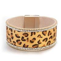 Bracelets Charm Allyes Crystal Leopard Кожаный браслет для женщин Мода Женская Широкая оберка Женский Ювелирные Изделия Браслеты
