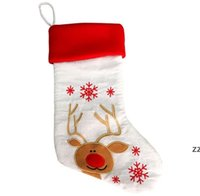 Christmas Santa Claus Socks Snowman Gift Bag Embroidery Xmas Stocking Tree Hanging Decoration For Party Decor Ornaments 6 Styles HWD10468