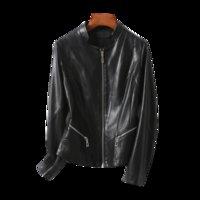 Sheepskin Womens Black Short Slim Fit Slimming Haining Leather Womens Coat 2021 Autumn plus Size Womens Leather Top