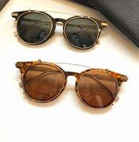 Clip on Runde Sonnenbrille Gold Schwarz Grau Flip Up Gläser des Lunettes De Soleil Herren Mode Sonnenbrille mit Kiste