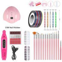 Nail Art Kits Werkzeug Set 54W UV LED Trockner Elektrische Diamant 15 stücke lackierte Stiftpunktbohrer