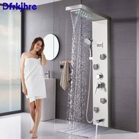 Panel de ducha Cuarto de baño Ducha Grifo Negro Níquel Columna Bañera Mezclador Toque Cascada Lluvia Pantalla de temperatura constante