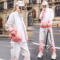 Two Pieces Sportswear Women's Gradient Color Suit Fashion New Casual Track Suit Sportswear Hip-hop Windbreaker Pants