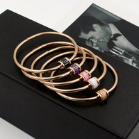 Boho Natural Stone Round Colorful Austrian Crystal & Bracelet for Women Love Screw Bangle Indian Jewelry K0019