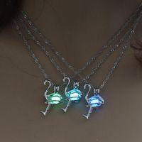 Светящиеся бусины фламинго подвеска ожерелье могут открыть полый медальон Хэллоуин ожерелья для женских ювелирных изделий и песчаного падения