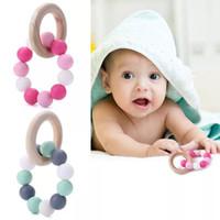 Baby Natürliche hölzerne Zähne Spielzeug Silikon Beißring Rassel Heide Zubehör Infant Finger Übung Beißringe Ring Spielzeug WLL43