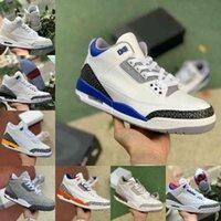 Jumpman Racer Blue 3 3s Zapatillas de baloncesto Hombres Cool Grey A MA Maniere UNC Fragment Hall of Fame AS NRG Jordán Corte Púrpura Cemento Negro Puro Zapatillas de deporte blanco