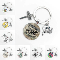 Cute Camper Wagon Keychain I Love Camping Trailer Signpost Vacation Travel Memorial Gift Happy Car Vacation86IM