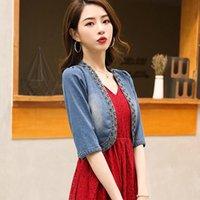 Women's Jackets Denim Jacket Women Extra Short Thin Shawl Fashion Slim Half Sleeve High Waist Spring Summer Crop Top Jeans Cardigan K1038