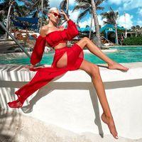 Women's Swimwear Sexy Summer Red Women 2 Piece Chiffon Beach Dress White Puh Up Bikini Cover Ups Bathing Suit Swimsuit Wholesale