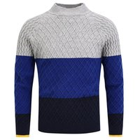 Men's Sweaters 2021 Winter Pullover Sweater Knitted Jumpers Tops 3 Colors Patchwork Stand Collar Clothing