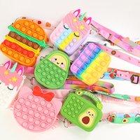 DHL Rainbow Unicorn Shoulder Strap Bag Coin Purse Wallet Ladies Bag Fidget Toy Push Bubble Bag Hamburger Crossbody Bags For Girls