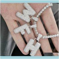 Necklaces Pendants Jewelrymens Jewelry 26 Letters & Custom Hop Necklace Hip Pendant Name 5Mm With Zircon Tennis Cubic Women Chain Drop Deliv