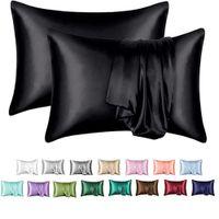 2 Pack de luxe 12 couleurs Haute Qualité Satin Satin Satin Case Etuie Package Individuelle Envelope Fermeture King Queen Full Standard Taille Literie